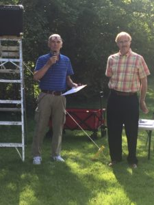 Bob Rhode and Leland Hite speak at the unveiling of the Obed Hussey Reaper historic marker September, 2017